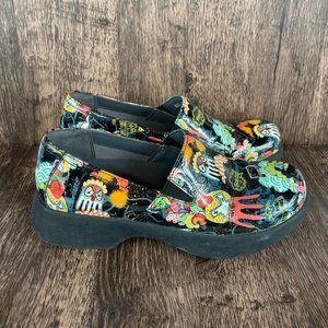Dansko Crazy Pattern Slip Resistant Clogs Size 38